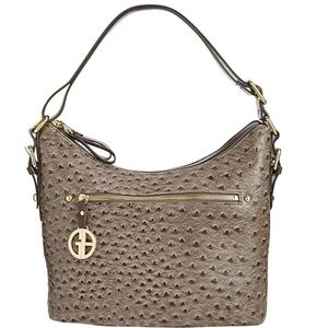 Giani Bernini Grey Gold Embossed Hobo 1GB15